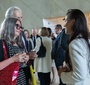 Members of the Award Committee – writer Agata Tuszyńska and Andrzej Rojek – talk to a recipient of the Karski2020 Award, Aleksandra K. Wiśniewska (Photo: Ewa Radziewicz)