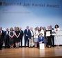 Recipients of the Spirit of Jan Karski and Karski2020 Awards with members of JKEF's Board of Directors and the Award Committee, sponsor Paweł Rymarz, and the event's MC, Jakub Gierszał (Photo: Ewa Radziewicz)