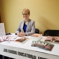 Bożena U. Zaremba at the JKEF's table with the Karski related educational materials (Photo: Aleksandra Cummings)