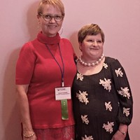 JKEF's Bożena U. Zaremba and President of the Florida Council for the Social Studies Cherie Arnette at the award gala (Photo: Courtesy of FCSS)