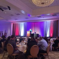 The incoming President of the Florida Council for the Social Studies Teresita (Terry) Davila-Alexander welcomes guests at the award gala (Photo: Bożena U. Zaremba)