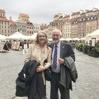 Wanda Urbanska showing Warsaw's Old Town to Ambassador Timothy Chorba (Photo: Courtesy of Wanda Urbanska)