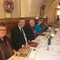 A meeting of the former U.S. Ambassadors in Warsaw. From the left: Ronnie Dillon, Ambassador Phillip Hughes, Ambassador John Maisto, and Sheilah Kast. (Photo: Courtesy of Wanda Urbanska)