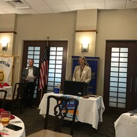President of the West Raleigh Rotary Club, George Wilson, after introducing Wanda Urbanska on May 3 (Photo: Jennifer Paul)