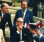 E. Thomas Wood, Jan Karski and Stanislaw M. Jankowski signing copies of the Polish edition in Lodz, 1996   (© Tom Wood)