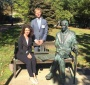 Agnieszka Bieńczyk-Missala and Błażej Moder at the Karski Bench on the Georgetown campus (Photo: Courtesy of Agnieszka Bieńczyk-Missala and Błażej Moder)
