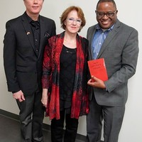 Rick and Anna VanMatre presenting a copy of the first edition of Karski's Story of a Secret State to Jerome Conely (Photo: Miami University Libraries)