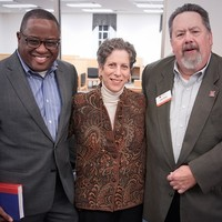 Jerome Conley, Miami University Dean; Marcy Miller, Executive Director Hillel at Miami University; and Joel Miller, director of development (Photo: Miami University Libraries)