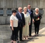 Guests of the ceremony at the Ferro Fountain of the Righteous, at the Holocaust Museum and Educational Center in Skokie, IL. From the left: Bernadetta Manturo, Tadeusz Młynek, Helena Sołtys, Marek Adamczyk, and Bożena Nowicka McLees (Photo: Piotr Gębała)