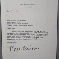 Letter to Karski from US President Clinton (Photo: Jane Robbins)
