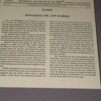 US Congressional Record proclamation honoring Karski 1997 (Photo: Jane Robbins)