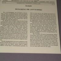 US Congressional Record proclamation honoring Karski 1997