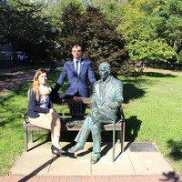 Monika Korowajczyk-Sujkowska and Wojciech Szkotnicki at Karski bench located on the Georgetown University campus (Photo: Courtesy of Monika Korowajczyk-Sujkowska )