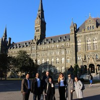 GLS participants in front of Georgetown University's Healy Hall, which is listed as a National Historic Landmark (Photo: Wojciech Szkotnicki)