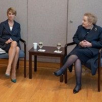 Former U.S. Ambassdor to Yemen Barbara Bodine moderates a meeting with former Secretary of State, Madeleine K. Albright. (Photo: Courtesy of Georgetown University)