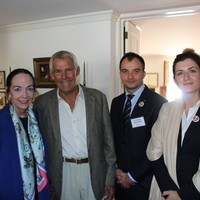 Luncheon hosted by Peter F. Krogh, Dean Emeritus and Distinguished Professor of International Affairs at Georgetown University's Edmund A. Walsh School of Foreign Service. From the left: Carol Harrison (photographer and former Karski student), Peter Krogh, Wojciech Szkotnicki and Monika Korowajczyk-Sujkowska (Photo: Courtesy of Wojciech Szkotnicki)