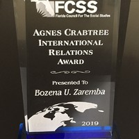 The 2019 Agnes Crabtree International Relations Award (Photo: Bożena U. Zaremba)