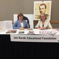 The Jan Karski Educational Foundation table at the 2019 FCSS Conference. Pictured: JKEF volunteer Julia Parker and JKEF Project Manager Bożena U. Zaremba (Photo: Pritpal Kaur)