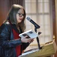 Agata Tuszyńska reading from her book  (Photo: Peter Smith)