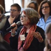 Ruth Ellen Gruber asking questions at the 4th PJSW  (Photo: Genvieve Zubrzycki)