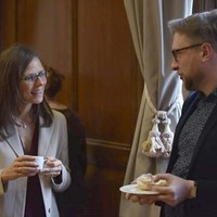 Karen Underhill with Pawel Dobrosielski of the University of Warsaw at the 4th PJSW (Photo: Peter Smith)