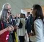 Członkowie Kapituły nagrody – pisarka Agata Tuszyńska i Przewodniczący Rady JKEF Andrzej Rojek – podczas rozmowy z laureatką nagrody Karski2020 Aleksandrą K. Wiśniewską.  (Fot. Ewa Radziewicz)