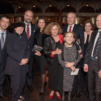 Marek Skulimowski, President of the Kosciuszko Foundation; Patti Kenner, philantropist, member of the Board of the Museum of Jewish Heritage, and Co-Chair of the event; Maciej Golubiewski, Consul General of the Republic of Poland with wife Agata; Ewa Junczyk-Ziomecka, President of Fundacja Edukacyjna Jana Karskiego; Dasha Rittenberg, Holocaust survivor; Andrzej Rojek, Chairman of the Board of Jan Karski Educational Foundation with wife Małgorzata; and Paweł Wołkanowicz of Fundacja Edukacyjna Jana Karskiego  (Photo: Melanie Einzig)
