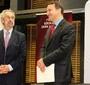 The Foundation's program director Eugeniusz Smolar with Radoslaw Sikorski, Marshal of the Sejm and former Polish Foreign Minister (FEJK)