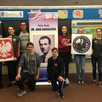 Students of the Jan Karski Polish School in Palos Heights, IL, celebrate Karski's 104th birthday. (Photo: Courtesy of Marek Adamczyk)