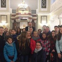 Students with the Chief Rabbi of Poland, Michael Schudrich (Photo: Courtesy of FEJK)