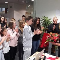 Students thank President Junczyk-Ziomecka for an inspiring visit (Photo: Courtesy of FEJK)