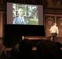 During the play a video of Jan Karski is shown  (Photo: Ewa Junczyk-Ziomecka)