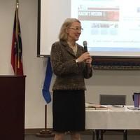 Wanda Urbanska shares resources at Beth Meyer Synagogue (Photo: Jane Robbins)