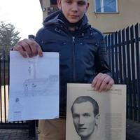 Jakub Przybył, student at the Elementary School No. 1 in Tuszyn, Poland, presents his artwork (Photo: Robert Kobylarczyk)