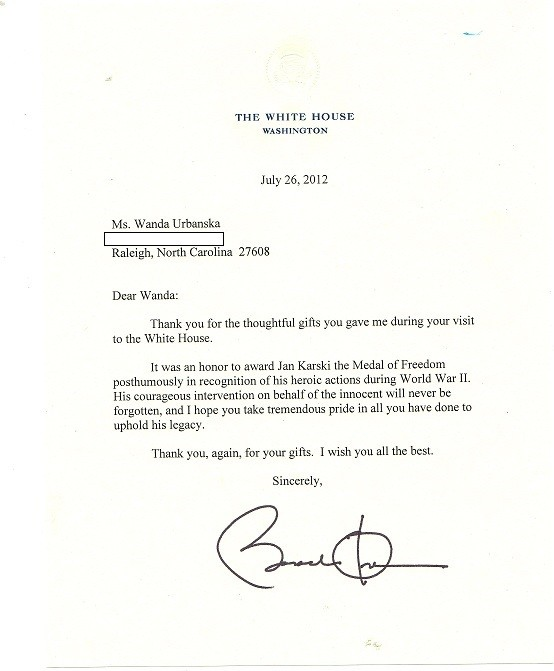 Thank You Received from President Obama