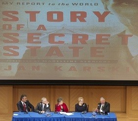 The panel with a backdrop of the book cover
