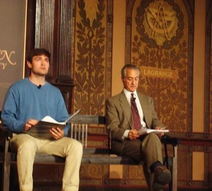 A student actor plays the young Karski with David Strathairn as the older Karski (photo by Gerry Chiaruttini)