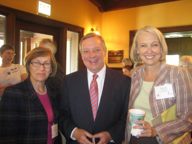 Ewa Wierzyńska of the Polish History Museum and Jan Karski Educational Foundation Board member, US Senator Richard Durbin and Wanda Urbanska, President of the Jan Karski Educational Foundation (Photo: Bożena U. Zaremba)