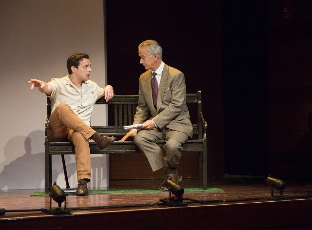 David Strathairn as Karski (right) and a member of the ensemble of