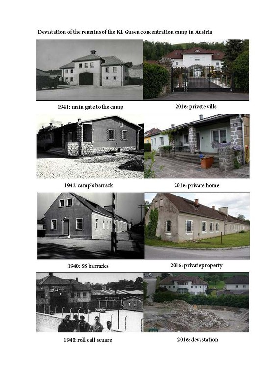 Now-and-then images of the site of the former KL Gusen concentration camp (Photo: www.polishhistory.pl)