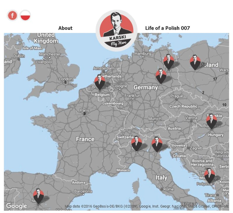 Iteractive map of places connected with Jan Karski