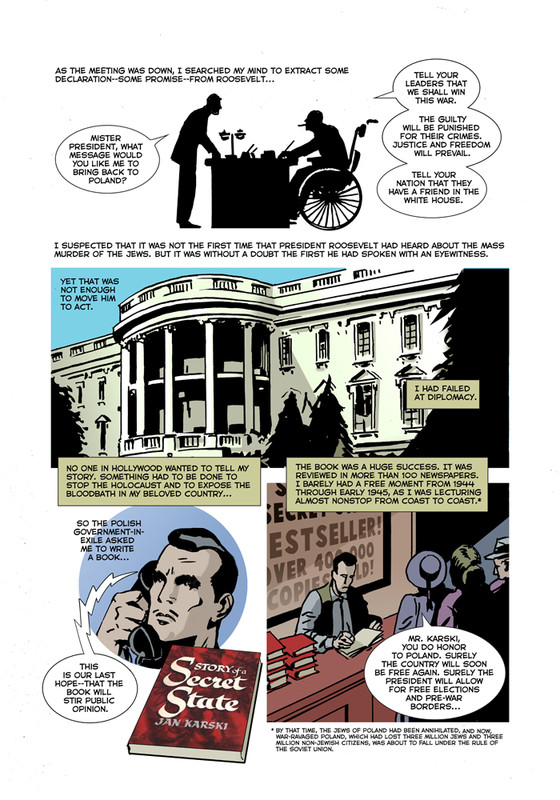 Panel from the graphic novel showing Karski's conversation with President Roosevelt at the White House (Text: Rafael Medoff; Illustrations: Dean Motter)