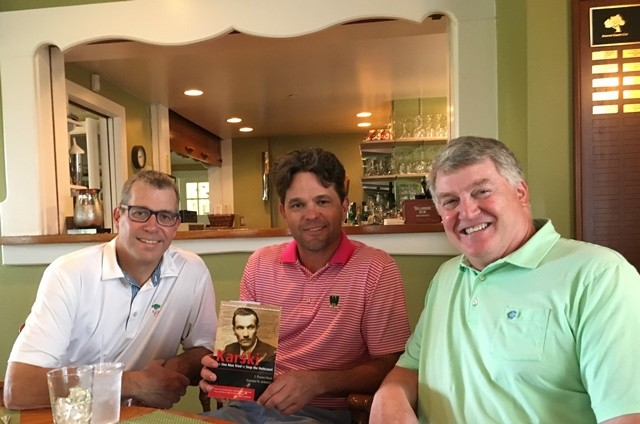 Participants of the book club meeting devoted to Jan Karski: Pete Jackson, Dan Grimsrud, and the host, Andrew LeFevour (Photo: Courtesy of Andrew LeFevour)