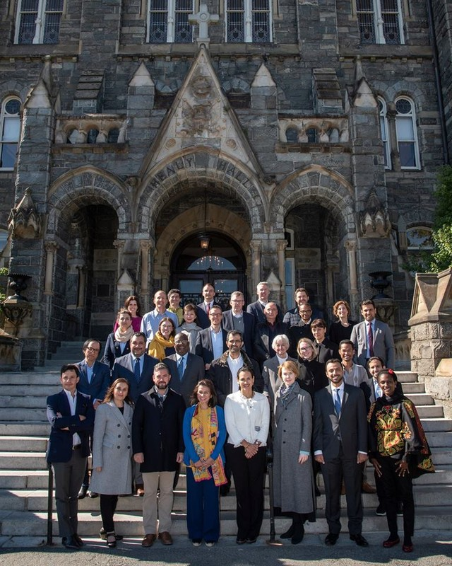 Participants of the 2018 Georgetown Leadership Seminar in front of Georgetown University's Healy Hall (Photo: Courtesy of Georgetown University)