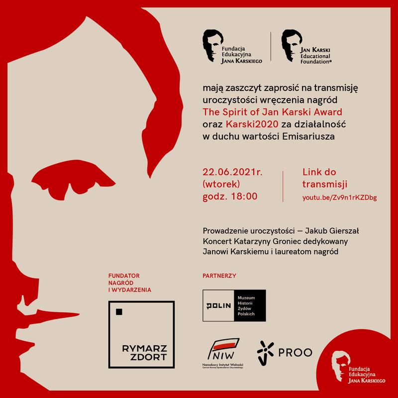 Zaproszenie na live streaming wręczenia nagród Spirit of Jan Karski i Karski2020